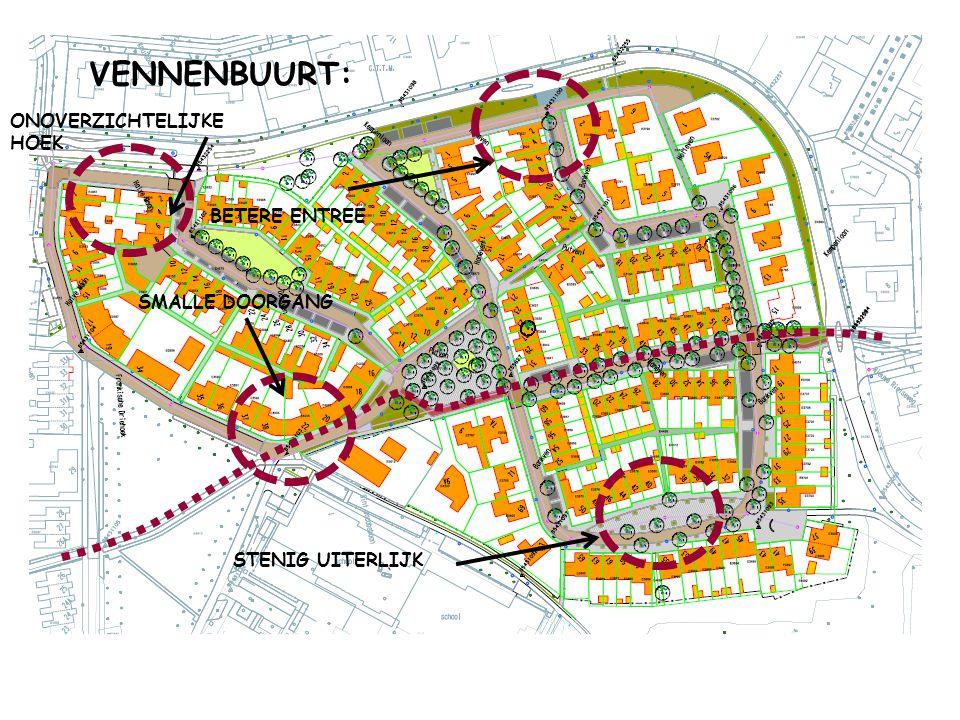 VENNENBUURT: ONOVERZICHTELIJKE HOEK BETERE ENTREE SMALLE DOORGANG