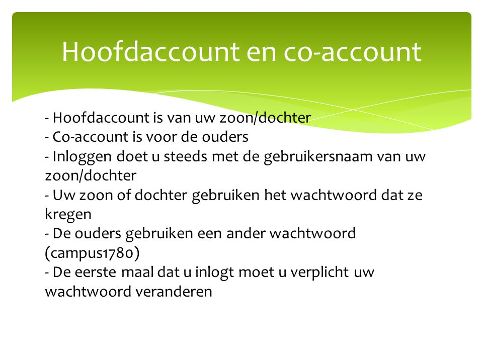 Hoofdaccount en co-account