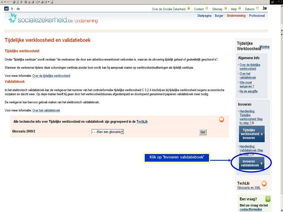Klik op Invoeren validatieboek