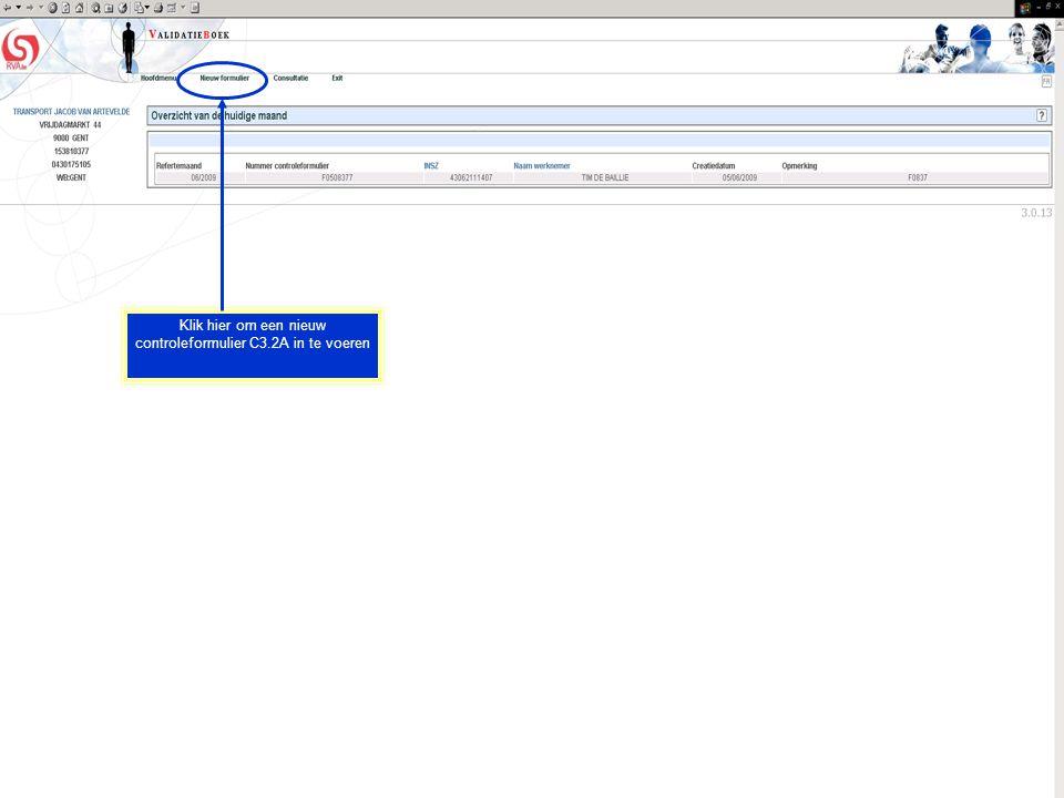 Klik hier om een nieuw controleformulier C3.2A in te voeren