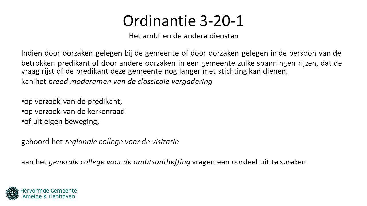 Ordinantie 3-20-1 Het ambt en de andere diensten