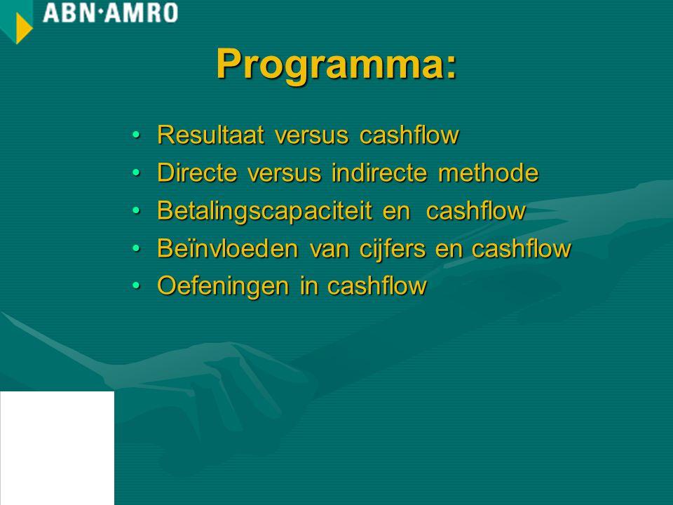 Programma: Resultaat versus cashflow Directe versus indirecte methode