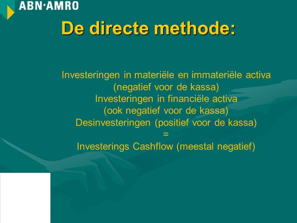 De directe methode: Investeringen in materiële en immateriële activa (negatief voor de kassa) Investeringen in financiële activa.