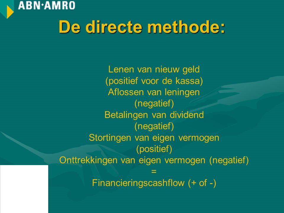 De directe methode: Lenen van nieuw geld (positief voor de kassa)