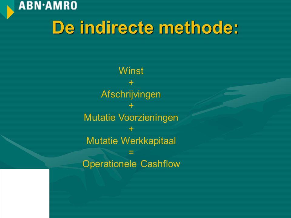 De indirecte methode: Winst + Afschrijvingen Mutatie Voorzieningen