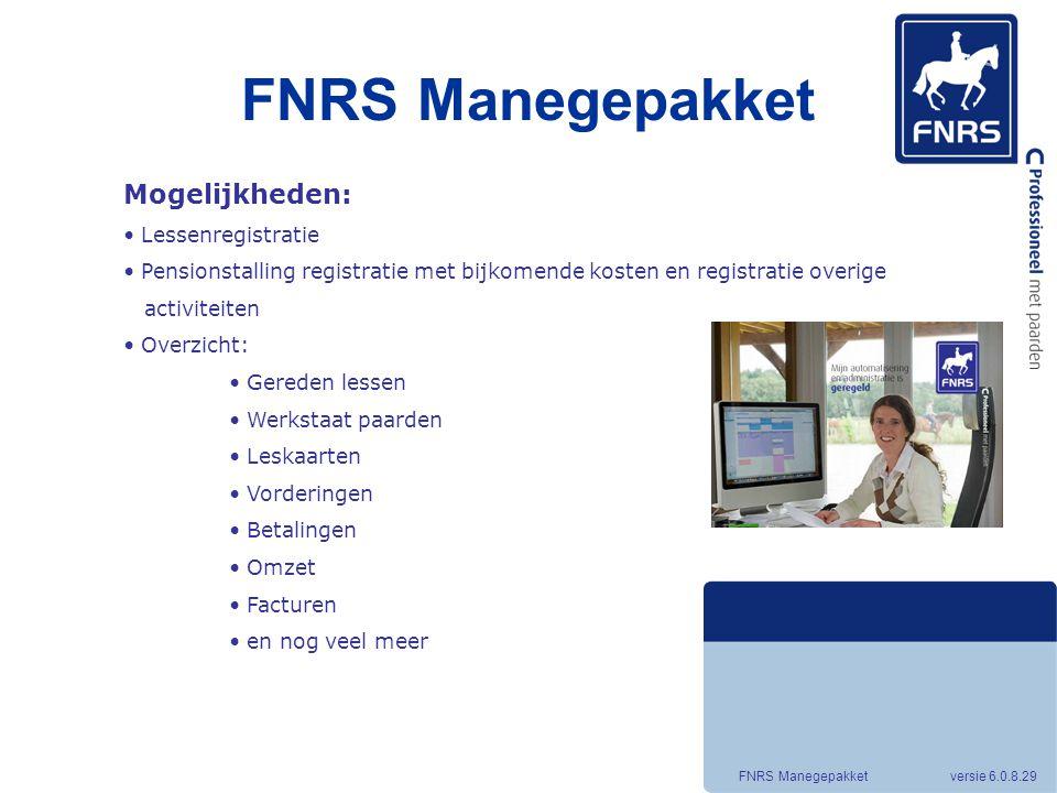FNRS Manegepakket Mogelijkheden: Lessenregistratie
