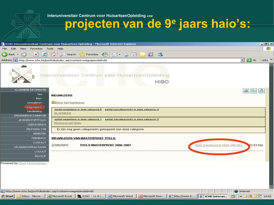 projecten van de 9e jaars haio's: