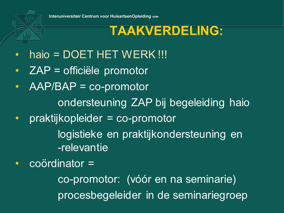 TAAKVERDELING: haio = DOET HET WERK !!! ZAP = officiële promotor
