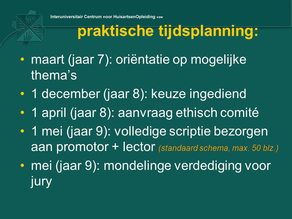 praktische tijdsplanning: