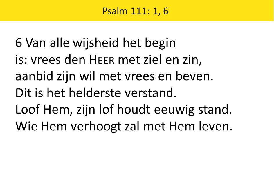 6 Van alle wijsheid het begin is: vrees den Heer met ziel en zin,