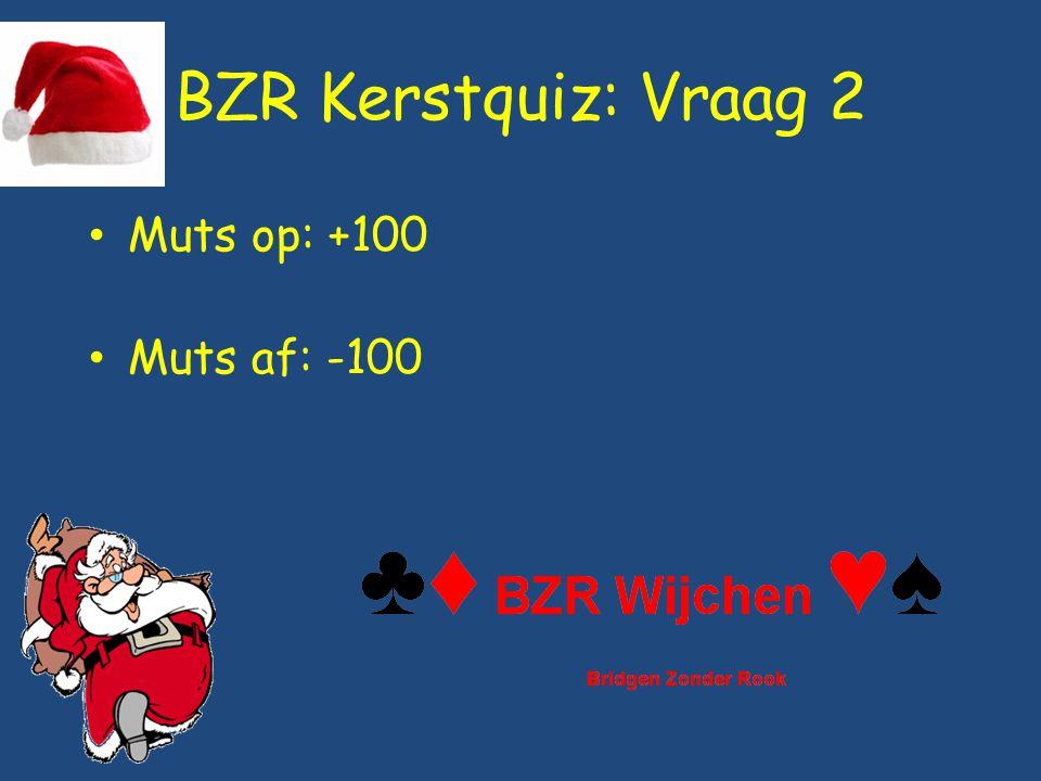 BZR Kerstquiz: Vraag 2 Muts op: +100 Muts af: -100