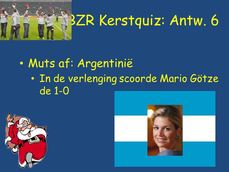 BZR Kerstquiz: Antw. 6 Muts af: Argentinië