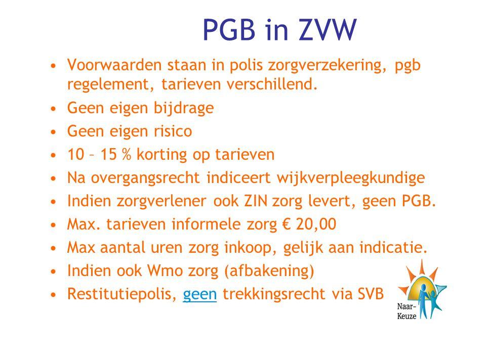PGB in ZVW Voorwaarden staan in polis zorgverzekering, pgb regelement, tarieven verschillend. Geen eigen bijdrage.