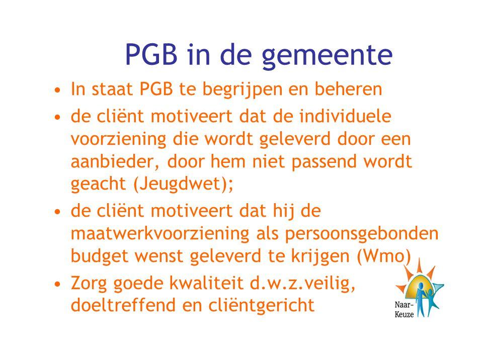 PGB in de gemeente In staat PGB te begrijpen en beheren