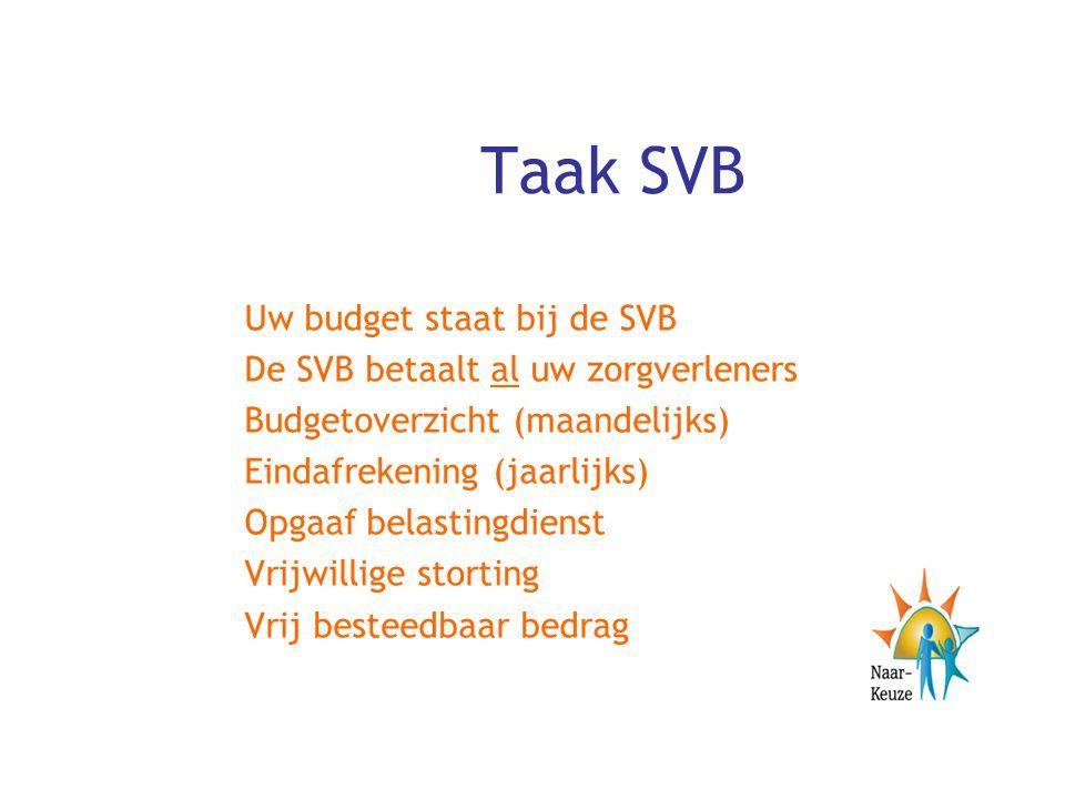 Taak SVB Uw budget staat bij de SVB De SVB betaalt al uw zorgverleners