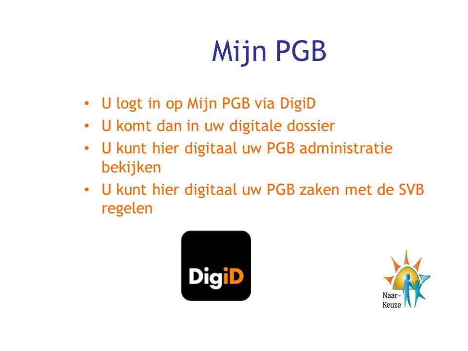 Mijn PGB U logt in op Mijn PGB via DigiD
