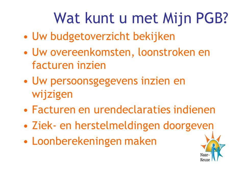Wat kunt u met Mijn PGB Uw budgetoverzicht bekijken