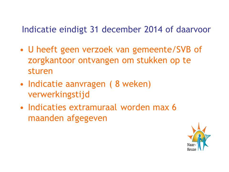 Indicatie eindigt 31 december 2014 of daarvoor