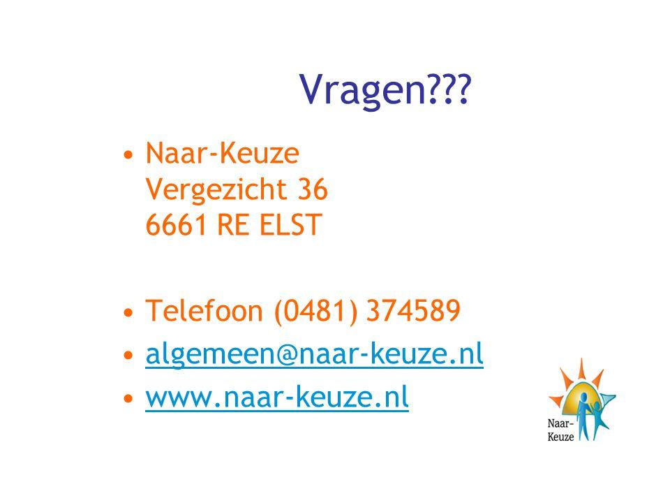 Vragen Naar-Keuze Vergezicht 36 6661 RE ELST Telefoon (0481) 374589