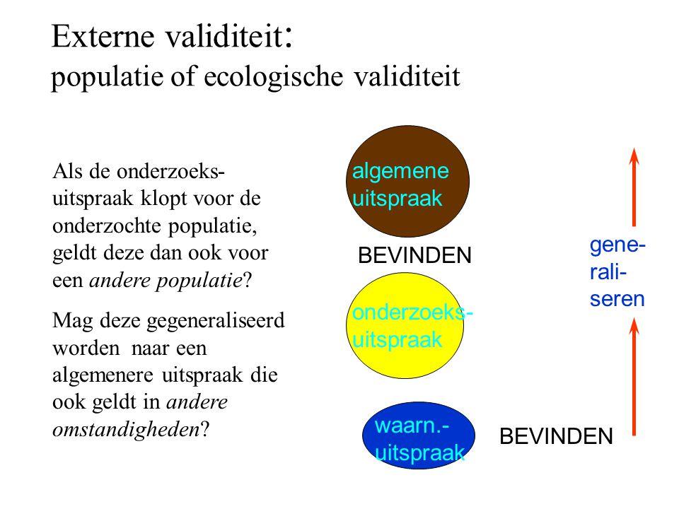 Externe validiteit: populatie of ecologische validiteit