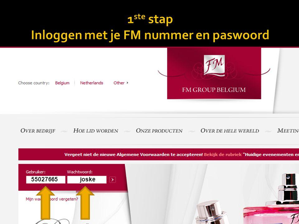 1ste stap Inloggen met je FM nummer en paswoord