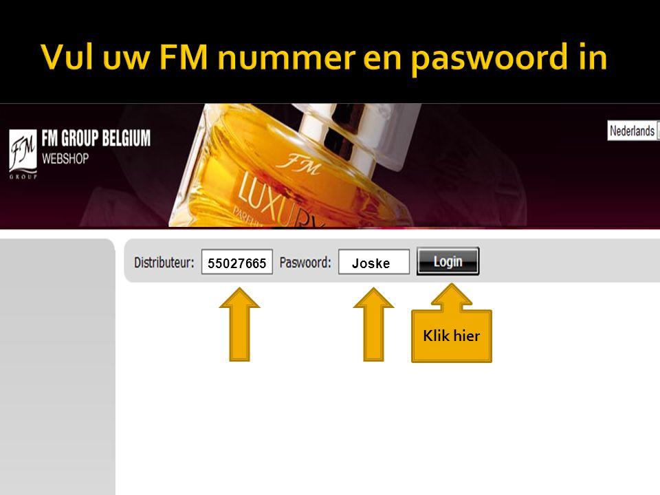Vul uw FM nummer en paswoord in