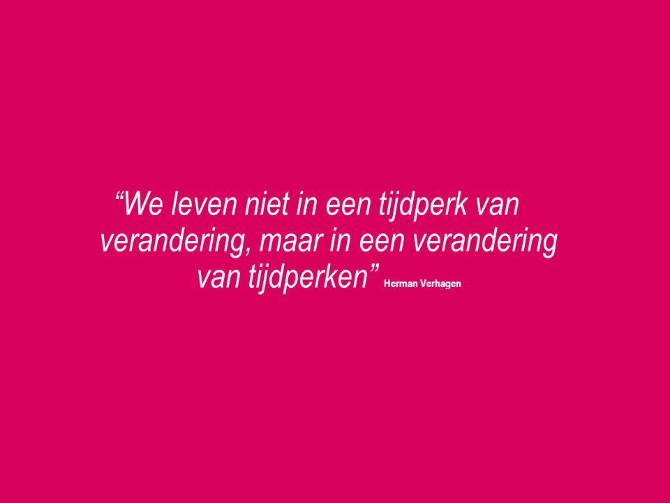 We leven niet in een tijdperk van verandering, maar in een verandering van tijdperken Herman Verhagen