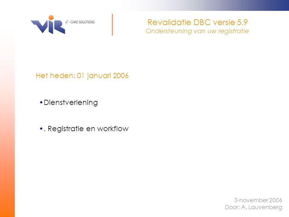 Revalidatie DBC versie 5.9 Ondersteuning van uw registratie