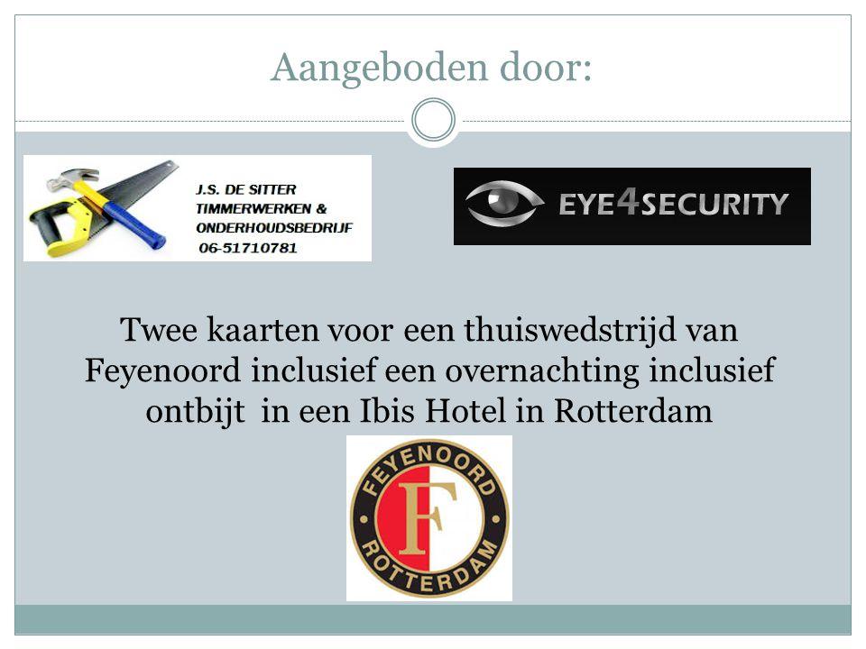 Aangeboden door: Twee kaarten voor een thuiswedstrijd van Feyenoord inclusief een overnachting inclusief ontbijt in een Ibis Hotel in Rotterdam.