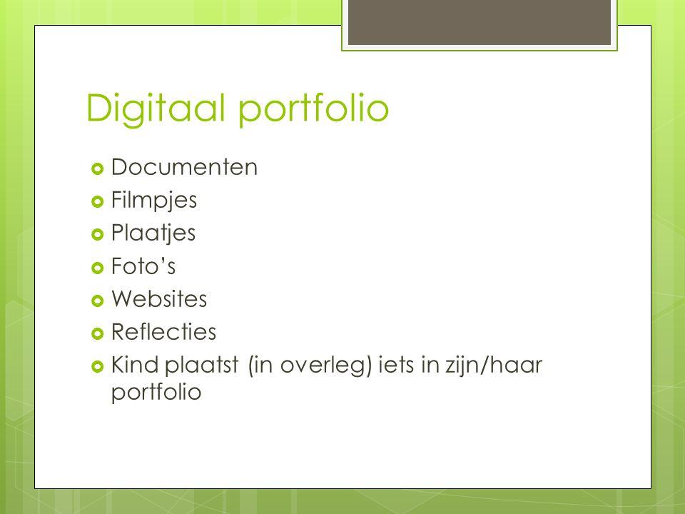 Digitaal portfolio Documenten Filmpjes Plaatjes Foto's Websites