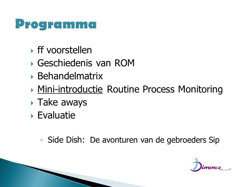 Programma ff voorstellen Geschiedenis van ROM Behandelmatrix