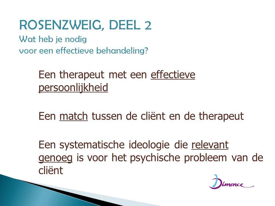 ROSENZWEIG, DEEL 2 Wat heb je nodig voor een effectieve behandeling