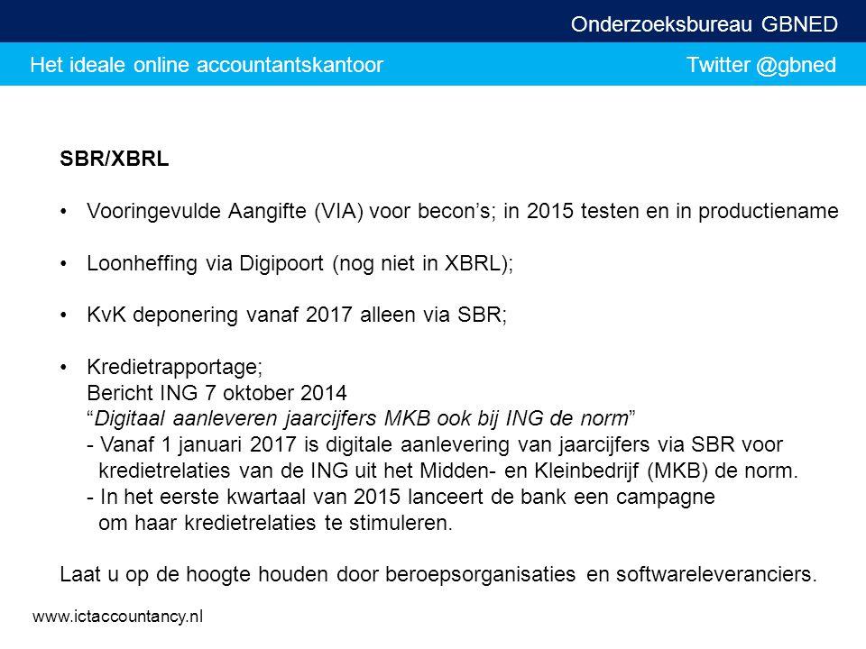 SBR/XBRL Vooringevulde Aangifte (VIA) voor becon's; in 2015 testen en in productiename. Loonheffing via Digipoort (nog niet in XBRL);