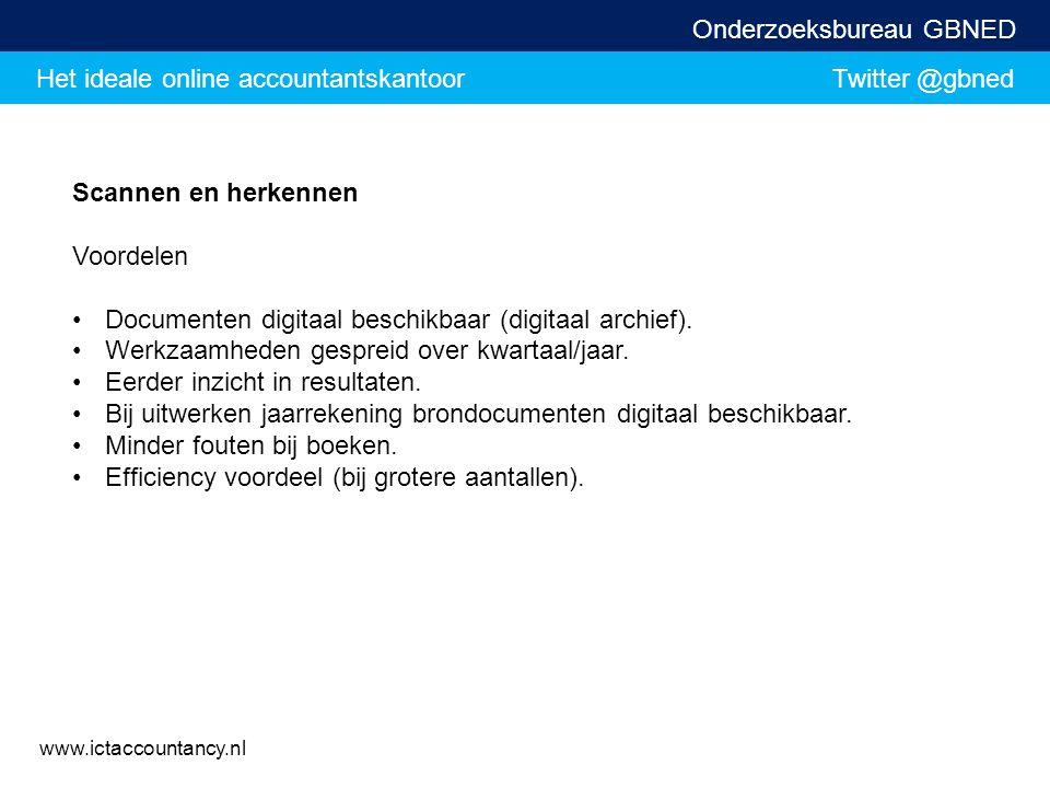 Scannen en herkennen Voordelen. Documenten digitaal beschikbaar (digitaal archief). Werkzaamheden gespreid over kwartaal/jaar.
