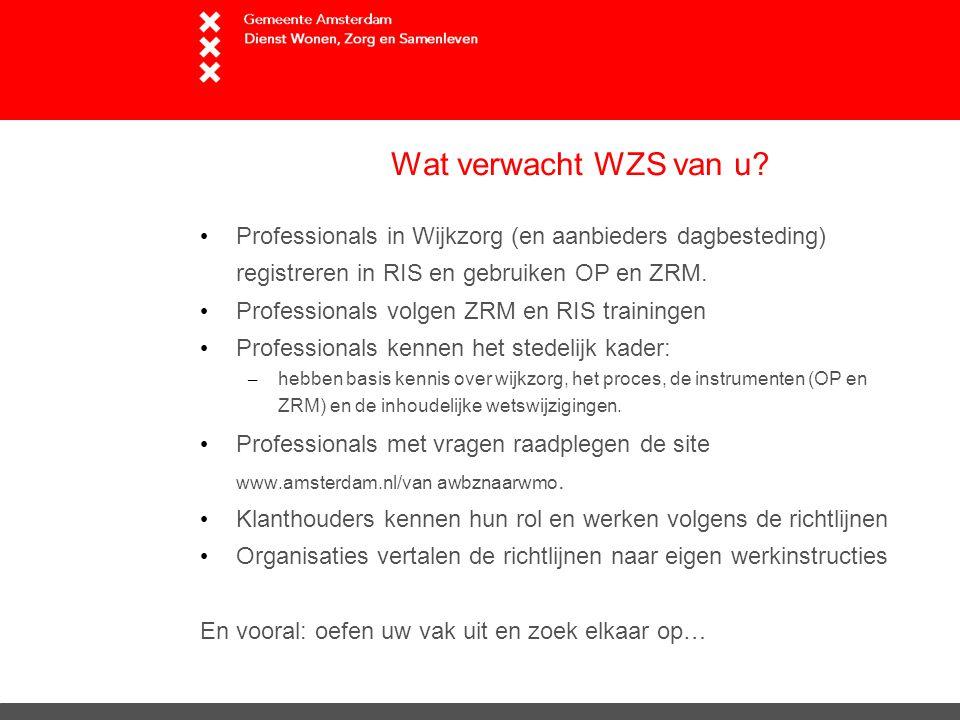 Wat verwacht WZS van u Professionals in Wijkzorg (en aanbieders dagbesteding) registreren in RIS en gebruiken OP en ZRM.
