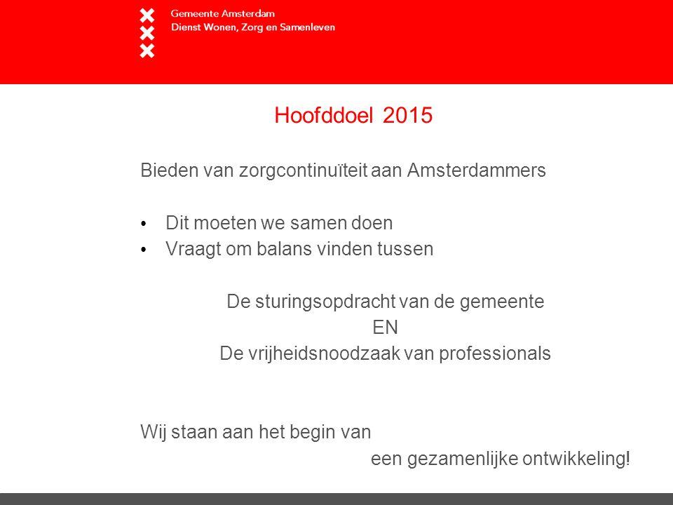 Hoofddoel 2015 Bieden van zorgcontinuïteit aan Amsterdammers