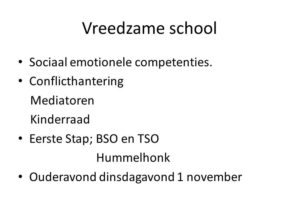 Vreedzame school Sociaal emotionele competenties. Conflicthantering