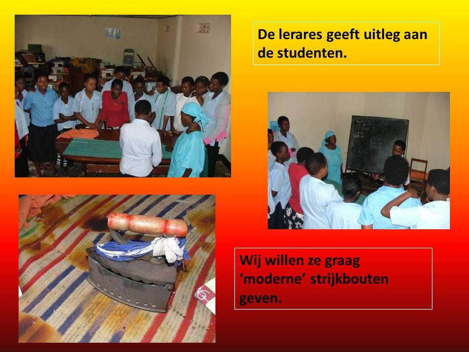 De lerares geeft uitleg aan de studenten.