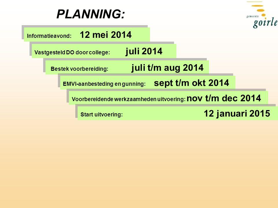 PLANNING: Bestek voorbereiding: juli t/m aug 2014