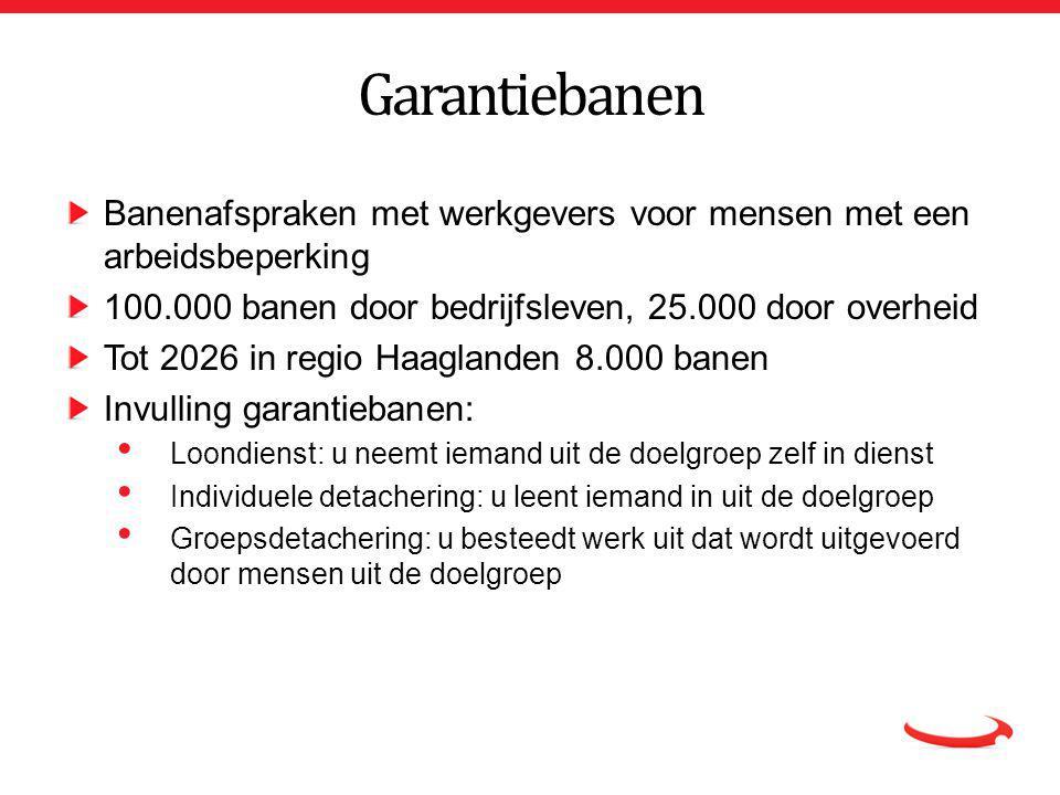 Garantiebanen Banenafspraken met werkgevers voor mensen met een arbeidsbeperking. 100.000 banen door bedrijfsleven, 25.000 door overheid.