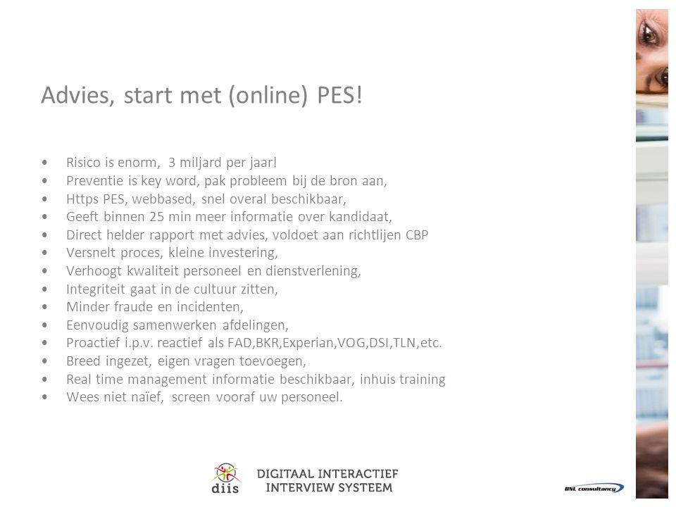 Advies, start met (online) PES!