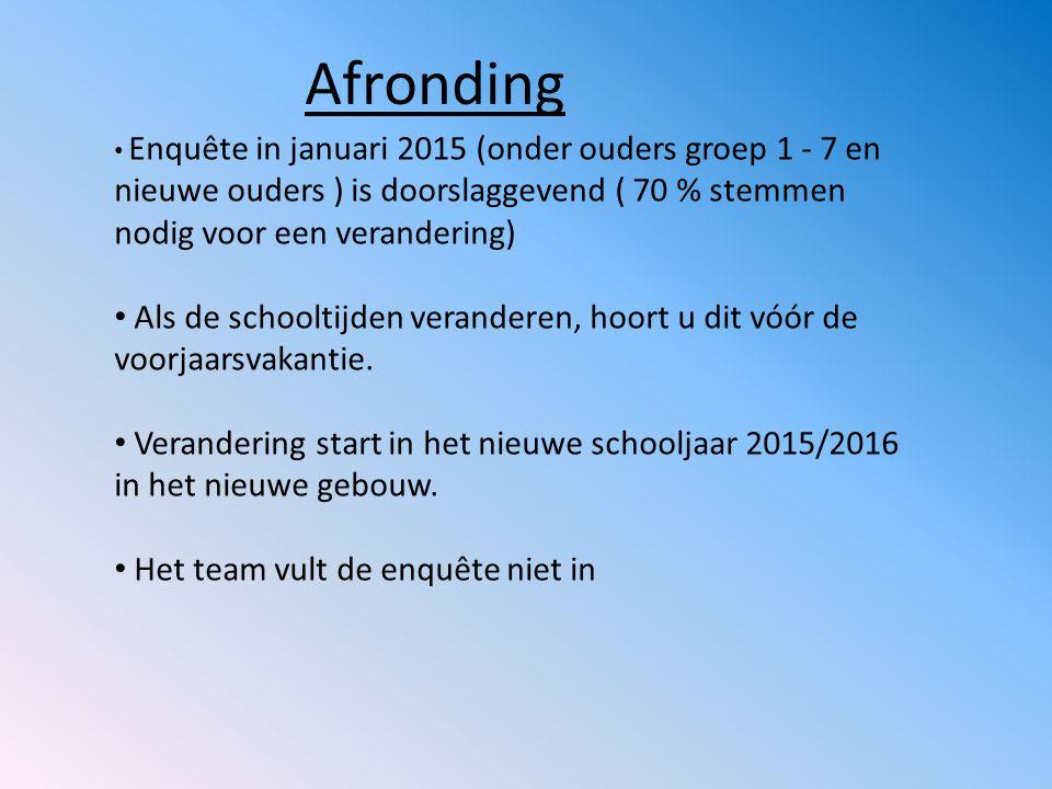 Afronding Enquête in januari 2015 (onder ouders groep 1 - 7 en nieuwe ouders ) is doorslaggevend ( 70 % stemmen nodig voor een verandering)