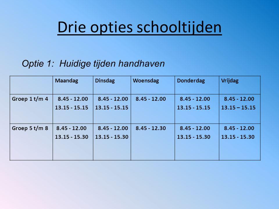 Drie opties schooltijden