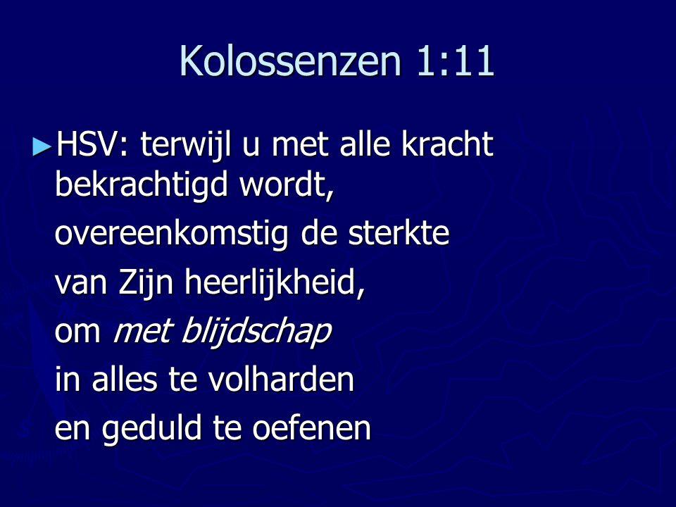 Kolossenzen 1:11 HSV: terwijl u met alle kracht bekrachtigd wordt,