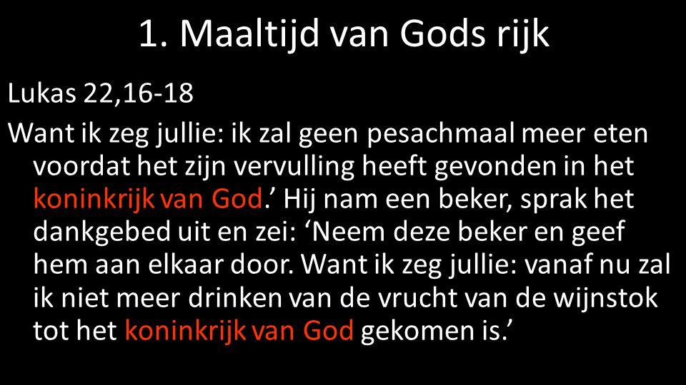 1. Maaltijd van Gods rijk Lukas 22,16-18