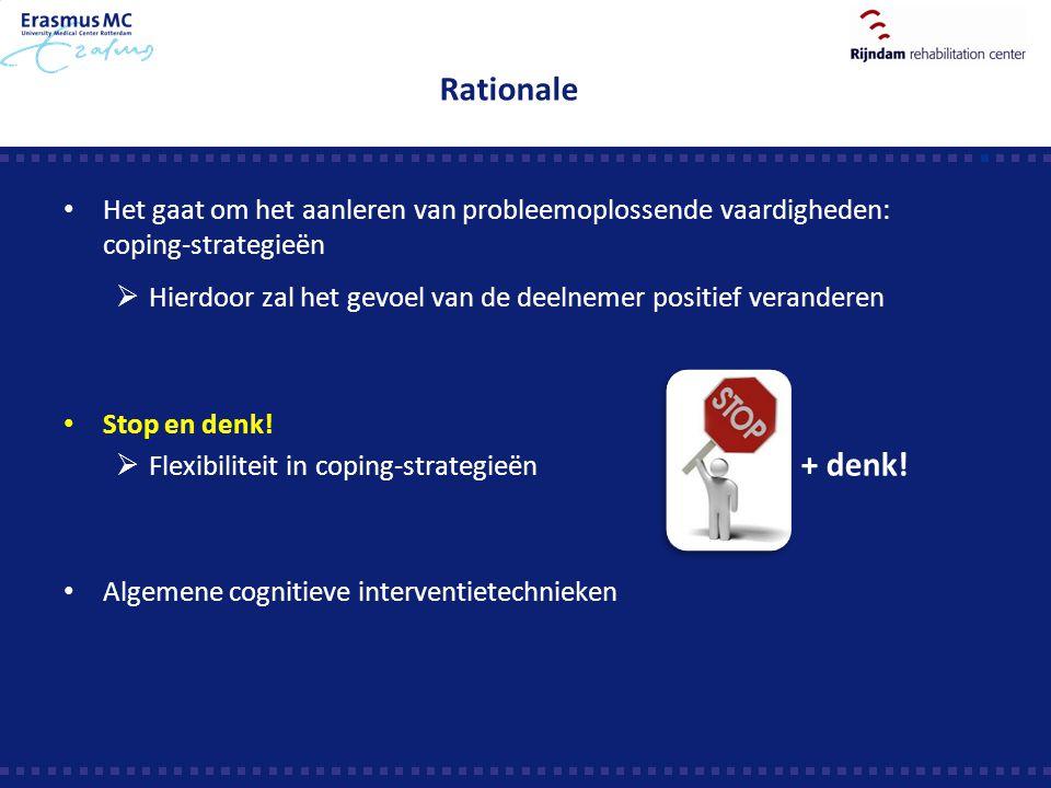 Rationale Het gaat om het aanleren van probleemoplossende vaardigheden: coping-strategieën.