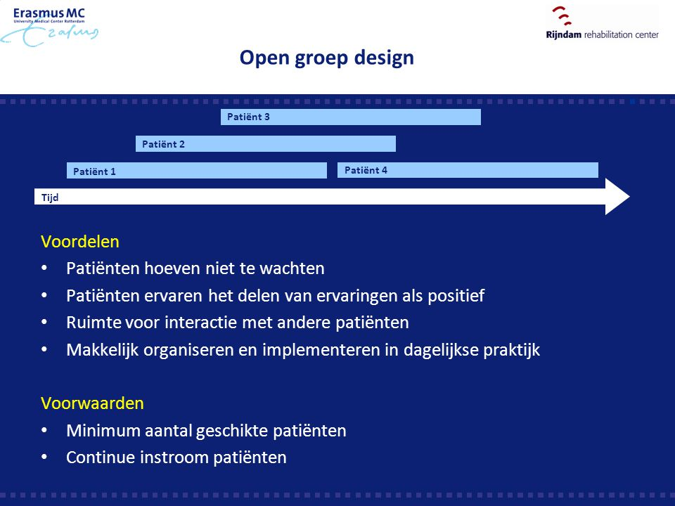 Open groep design Voordelen Patiënten hoeven niet te wachten