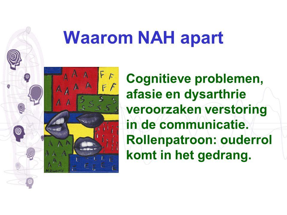 Waarom NAH apart Cognitieve problemen, afasie en dysarthrie