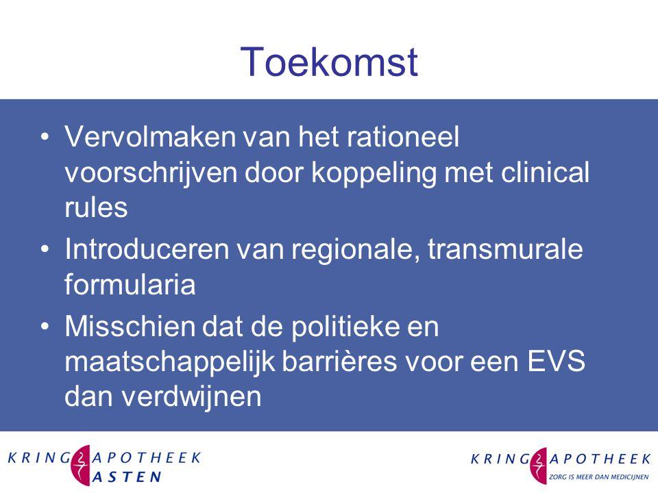 Toekomst Vervolmaken van het rationeel voorschrijven door koppeling met clinical rules. Introduceren van regionale, transmurale formularia.