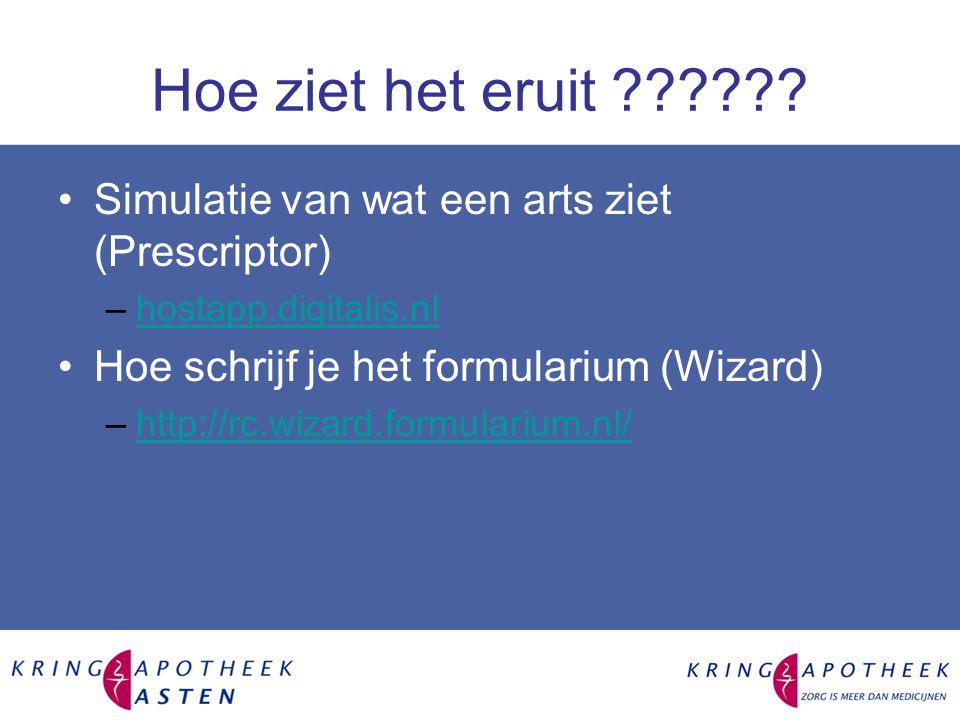 Hoe ziet het eruit Simulatie van wat een arts ziet (Prescriptor) hostapp.digitalis.nl. Hoe schrijf je het formularium (Wizard)